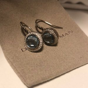 DAVID YURMAN BLUE TOPAZ AND DIAMOND DROP EARRINGS